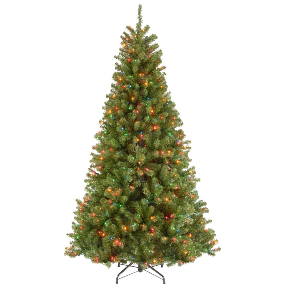 national tree company 7 ft north valley spruce hinged artificial christmas tree with 500 multicolor