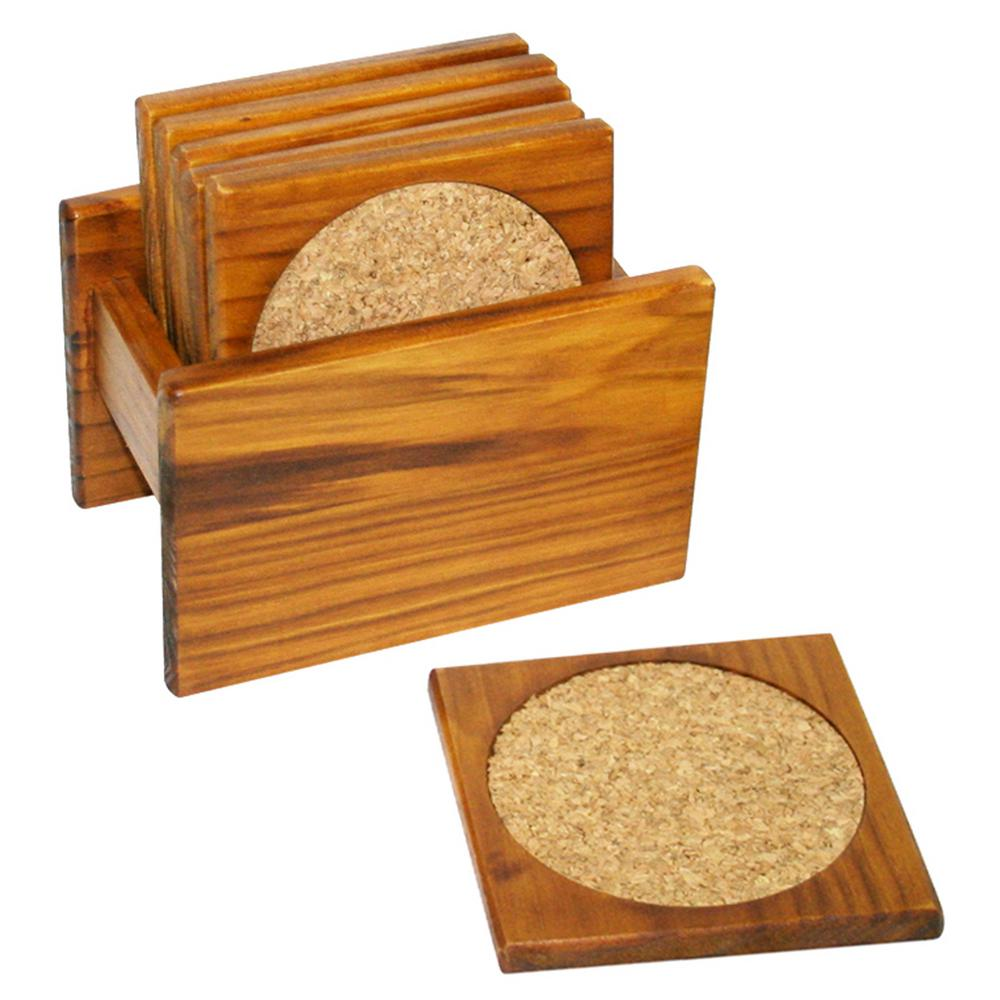 Home Basics 6-Piece Pine Coaster Set, Browns / Tans was $23.26 now $12.86 (45.0% off)