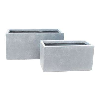 Lightweight Concrete Modern Long Low Grey Planter (Set of 2)