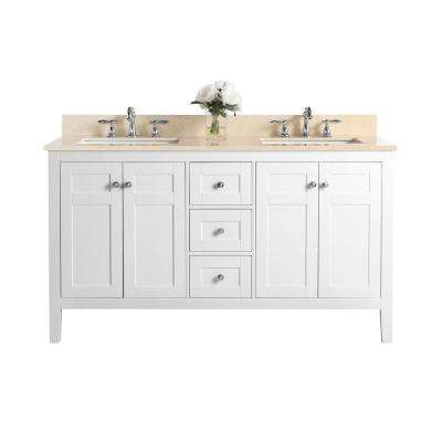 Maili 60 in. W x 22 in. D Bath Vanity in White with Marble Vanity Top in Galala Beige with White Basins