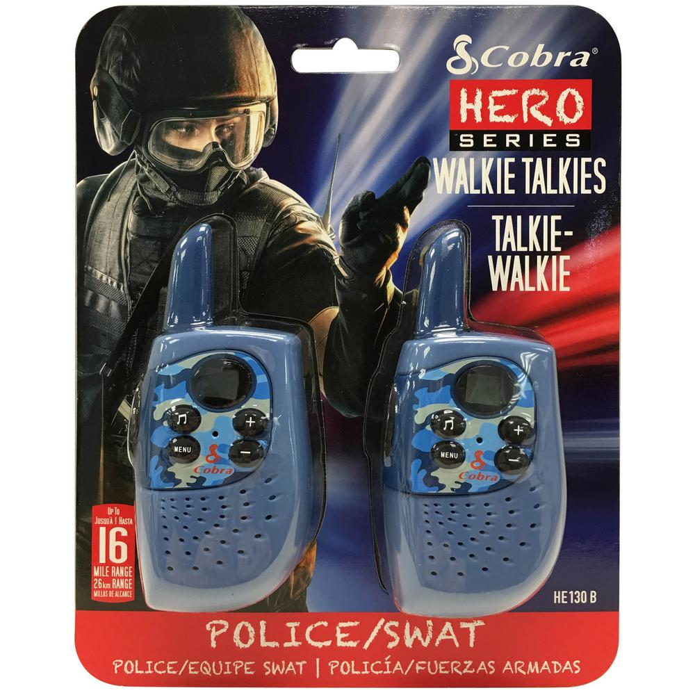 Kids Police/Swat Hero 16-Mile Range 2-Way Radio (2-Pack) Police/SWAT role-playing FRS 2-way radio series provides fun for active kids who love adventures. Walkie-talkies are lightweight and compact so that kids can easily carry and use them. This safe, high-tech device gives great communication for parents and kids to keep in touch.