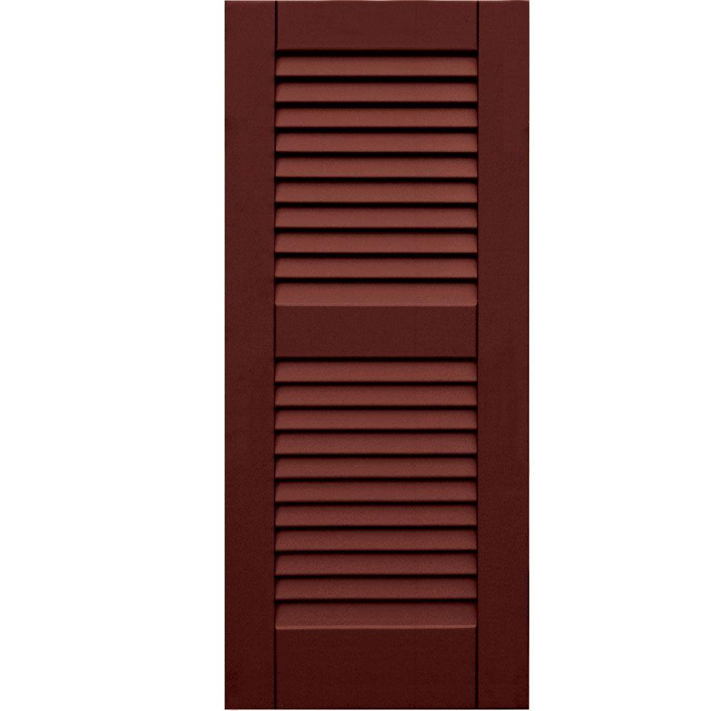 Winworks Wood Composite 15 in. x 35 in. Louvered Shutters Pair #650 Board and Batten Red