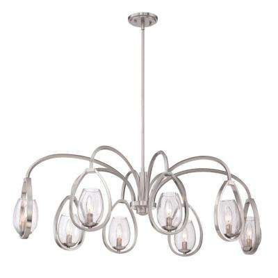 Fantini Collection 8-Light Oval Satin Nickel Chandelier with Glass Shade