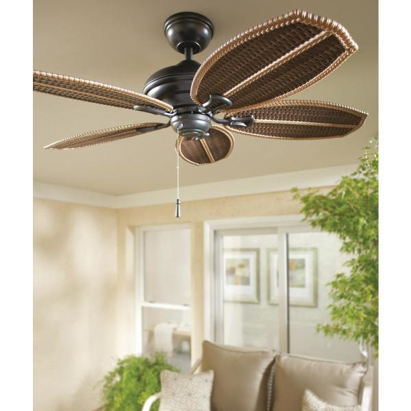 Hampton Bay Palm Beach Ii 48 In Indoor Outdoor Natural Iron Ceiling Fan 59299 The Home Depot