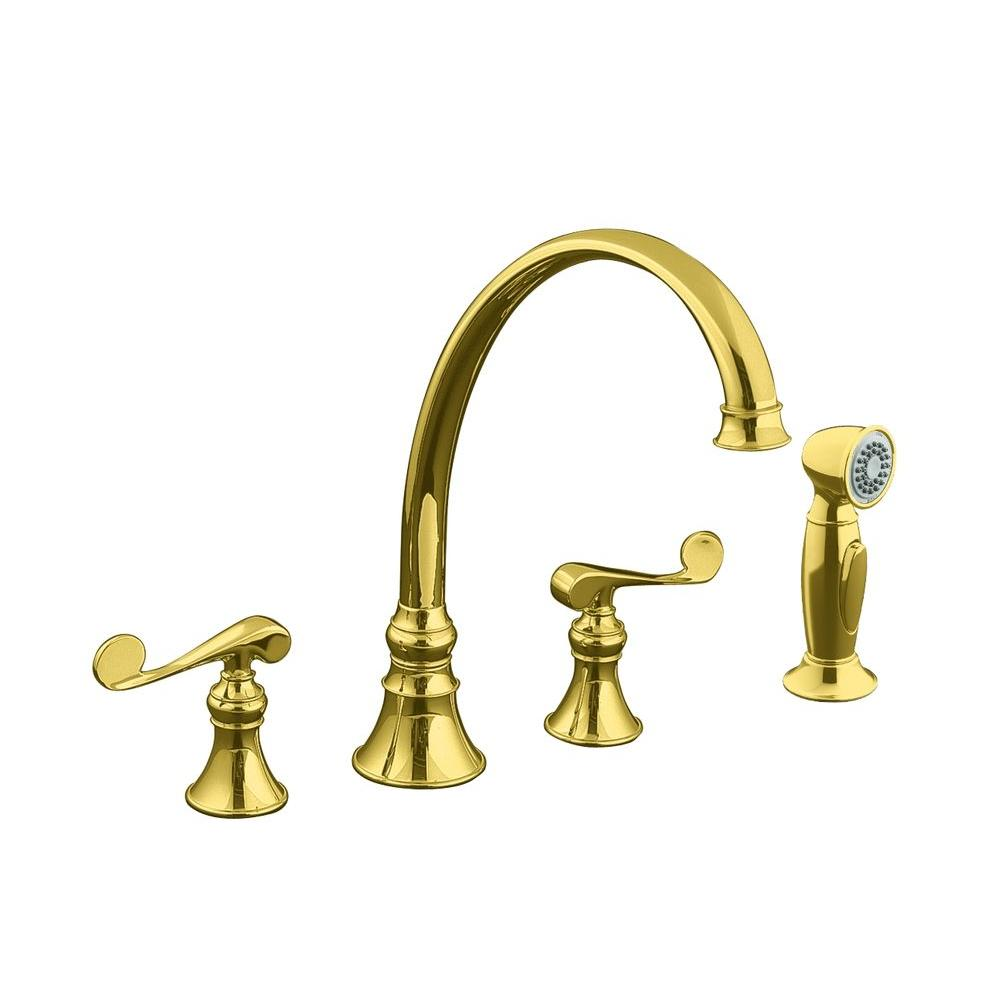 KOHLER Revival 2-Handle Standard Kitchen Faucet in Vibrant Polished Brass