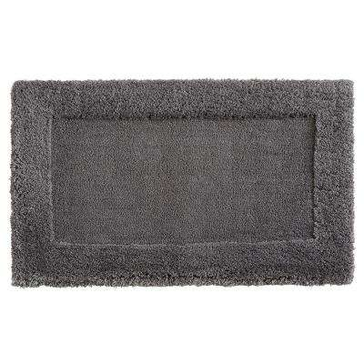 Dynasty 20 in. x 34 in. Micro Denier Polyester Bath Mat in Pewter