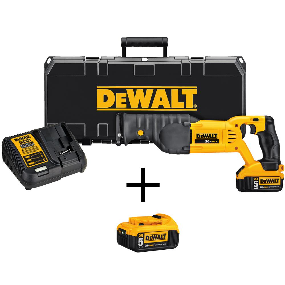 DEWALT 20-Volt MAX XR Lithium-Ion Cordless Reciprocating Saw, Battery 5Ah, Charger and Case w/ Free 20-Volt 5.0Ah Battery