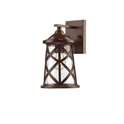 1-Light 10 in. High Powder Coated Bronze Outdoor Wall Sconce with Glass Shade