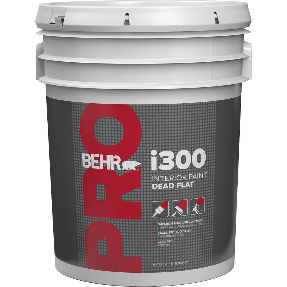 BEHR PRO 5 Gal. I300 White Flat Interior Paint