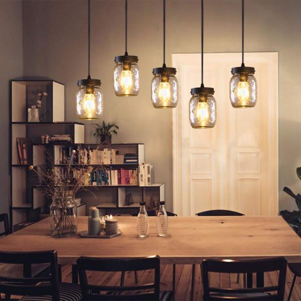 Casainc 5 Light Farmhouse Kitchen Island Lighting With Clear Glass Mason Jar Xd Wood 003 The Home Depot