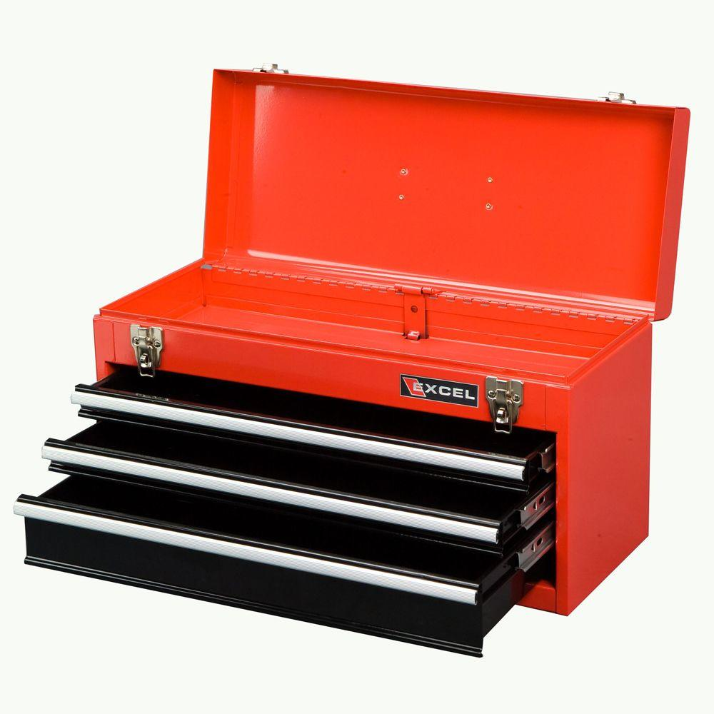 Portable Steel Tool Box, Red, 21in. W x 8.6in. D x
