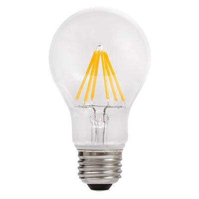 60-Watt Equivalent A19 Dimmable Energy Star Clear Filament Vintage Style LED Light Bulb Bright White (4-Pack)