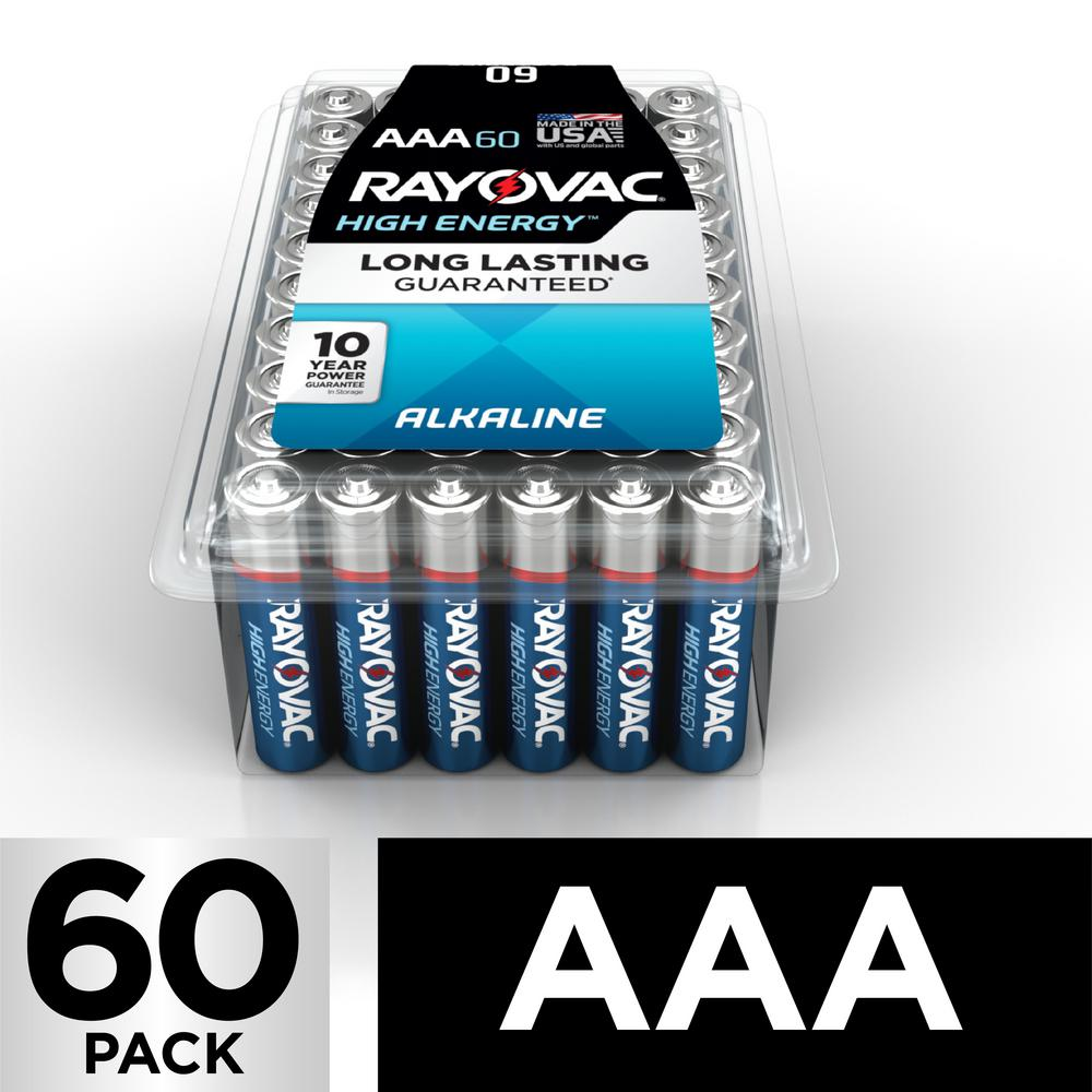 Rayovac High Energy Alkaline AAA/1.5 Volt Battery (60-Pack)