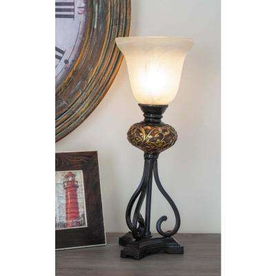 7 in. x 20 in. Modern Golden Filigree and Inverted Bell Iron Uplight