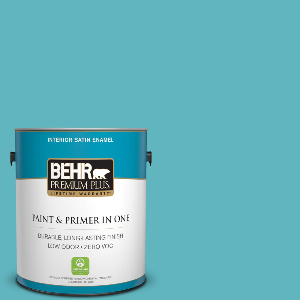 BEHR Premium Plus 1 gal. #520D-5 Tropical Tide Satin Enamel Low Odor ...
