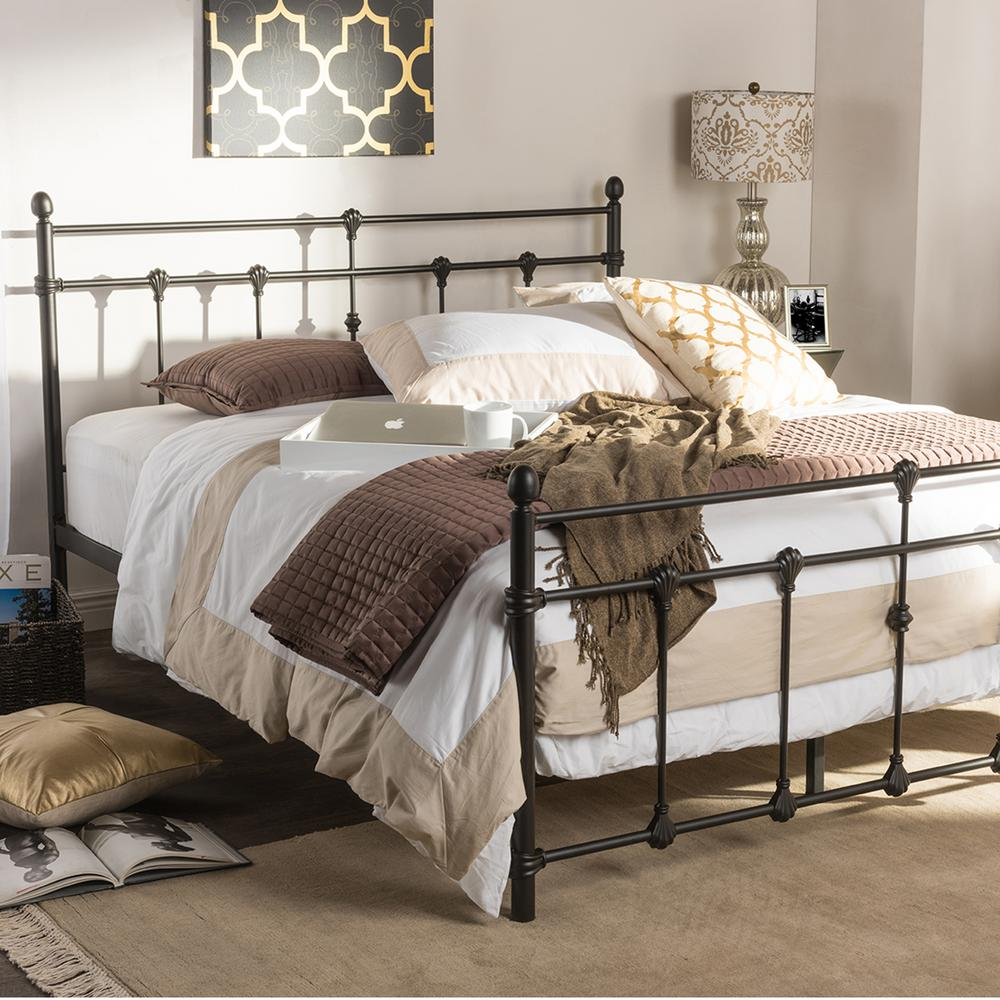 Belinda Vintage Industrial Black Finished Metal Queen Size Platform Bed
