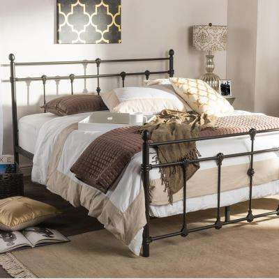 Belinda Vintage Black Finished Metal Queen Size Platform Bed