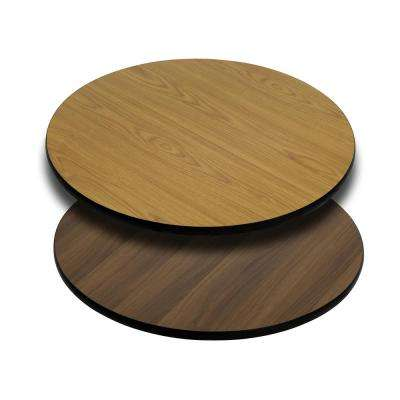 30 in. Round Table Top with Natural or Walnut Reversible Laminate Top
