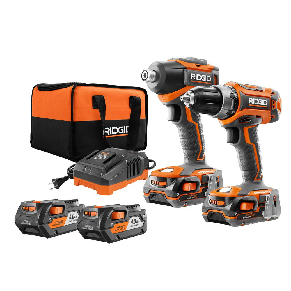 RIDGID 18-Volt Brushless 2-Tool Drill/Driver and Impact Driver Combo Kit with Free 2-Pack of 4.0Ah Batteries