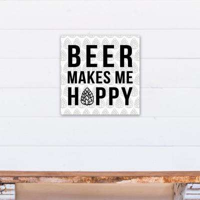 "16 in. x 16 in. ""Beer Makes Me Hoppy"" Printed Canvas Wall Art"