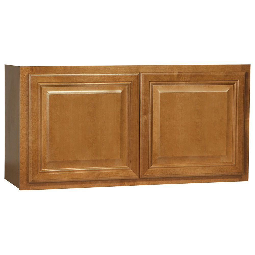 Cambria Assembled 36x18x12 in. Wall Bridge Kitchen Cabinet in Harvest