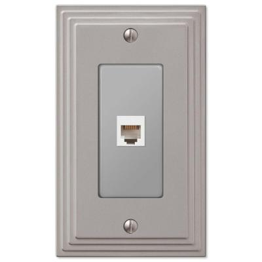 Tiered 1 Gang Phone Metal Wall Plate - Satin Nickel