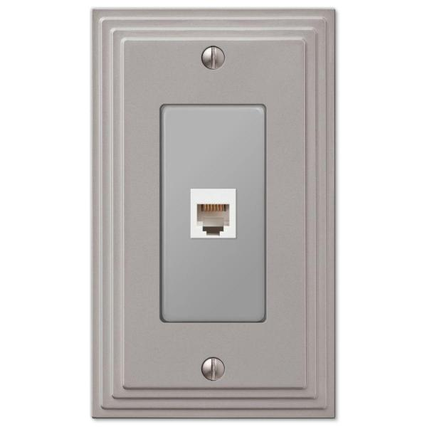 Tiered 1 Gang Phone Metal Wall Plate - Satin Nickel