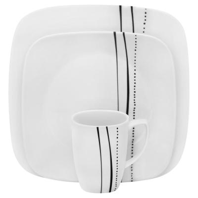 Square 16-Piece Cascading Lines Dinnerware Set