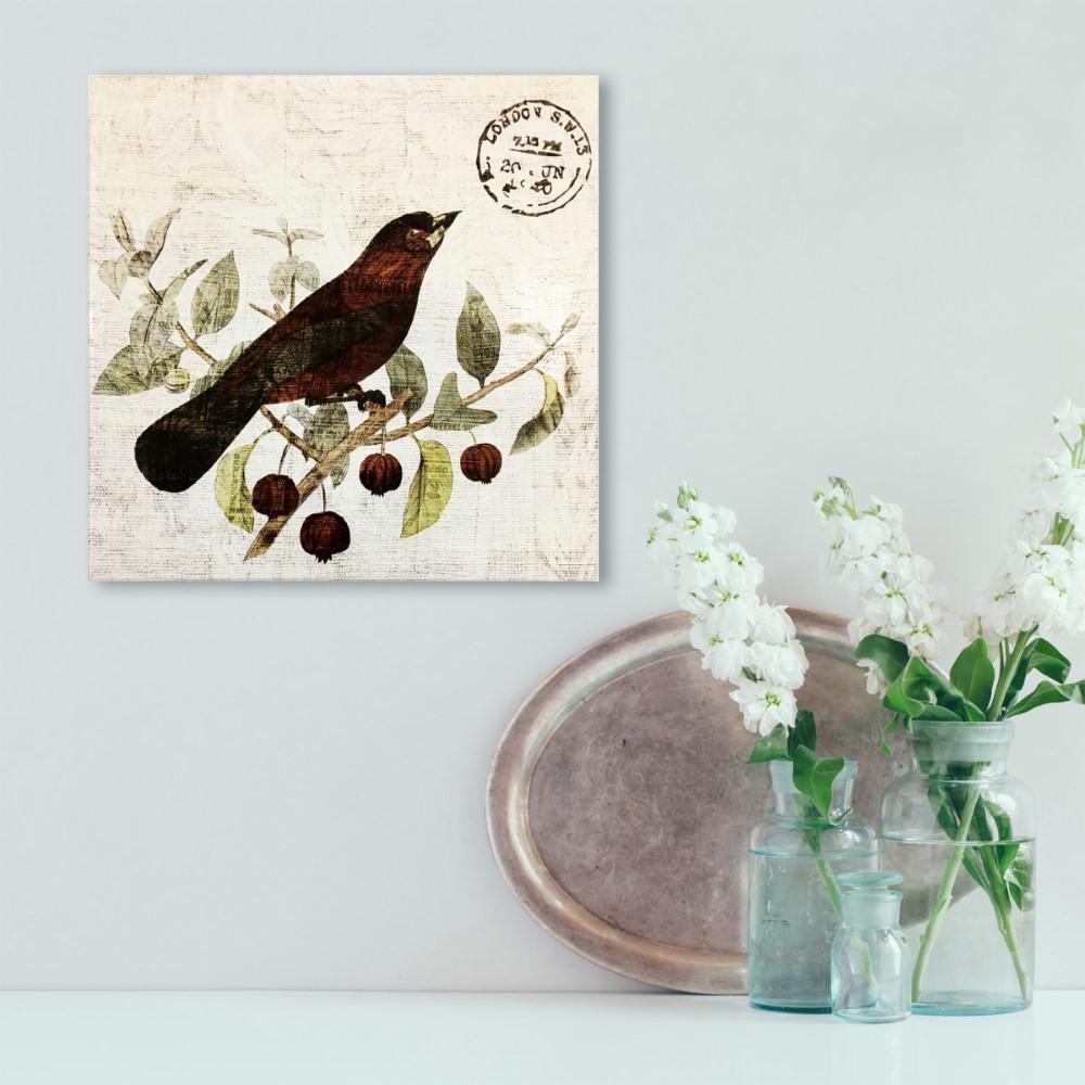 "14 in. x 14 in. ""Bird in the Tree II"" By Wynwood Studio Framed Printed Wood Wall Art"