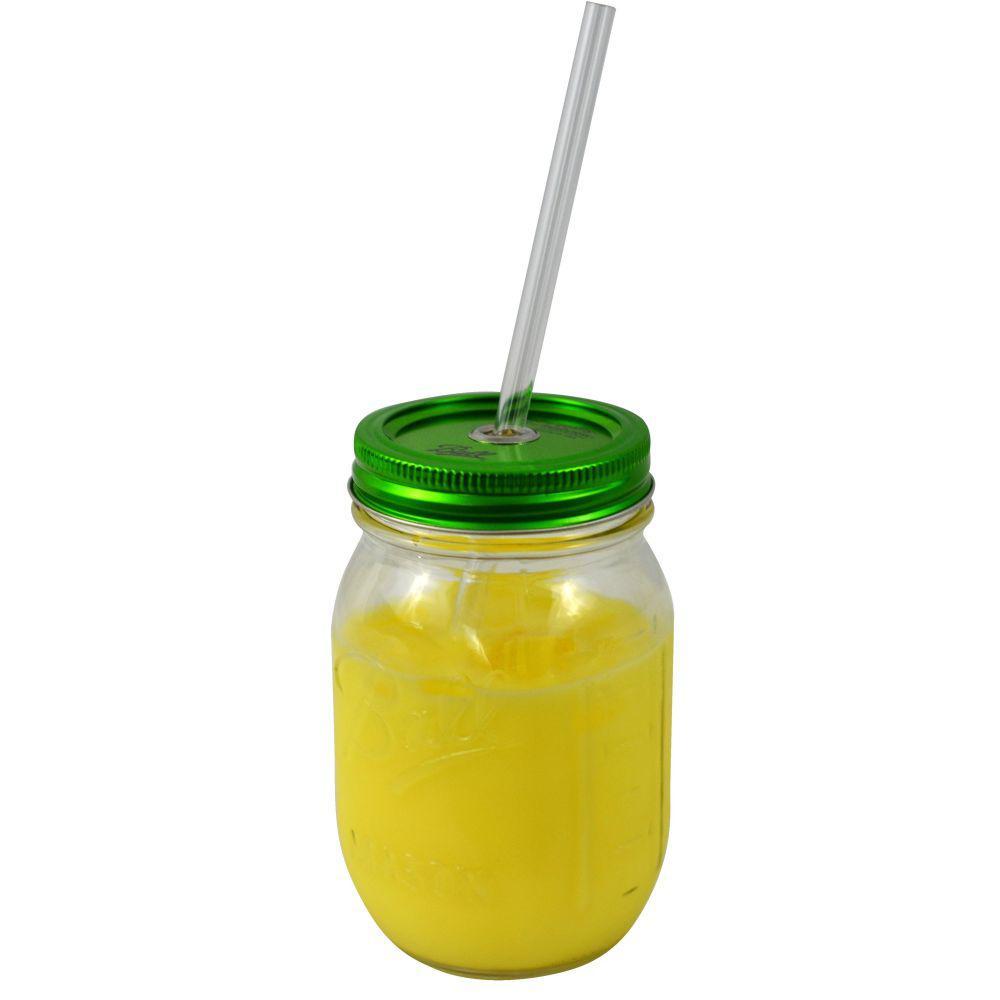 Sipper 16 oz. Ball Mason Drinking Jar with Acrylic Straw & Green Lid