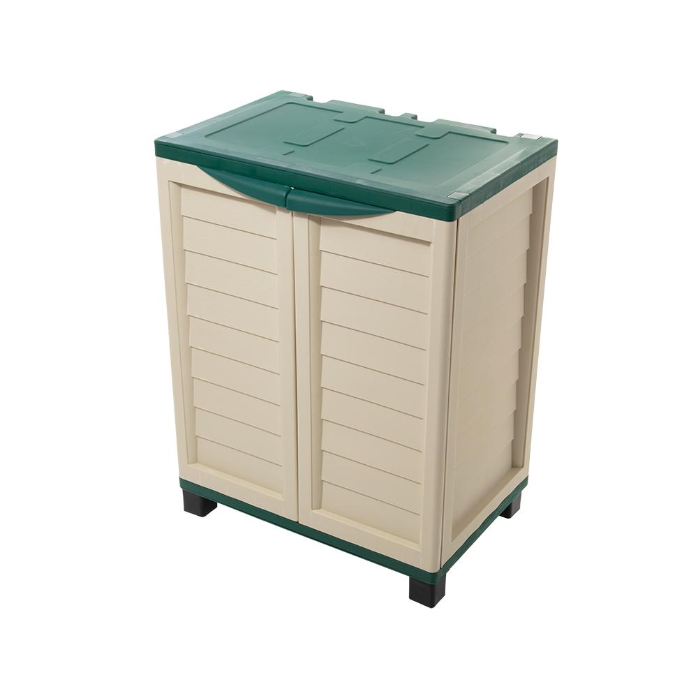 Starplast 2 ft. 5.5in x 1 ft. 8in x 3 ft. Plastic Beige/Green Storage Cabinet with 2 Shelves
