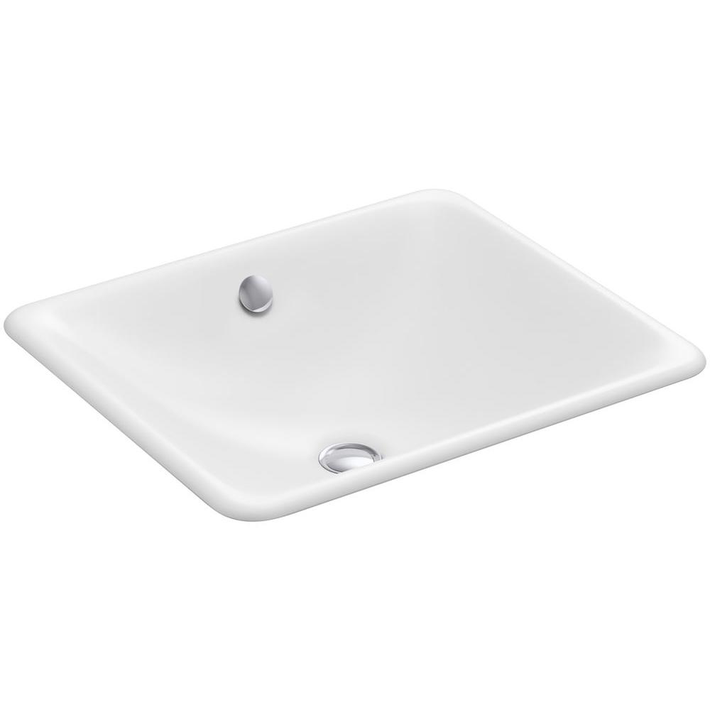 KOHLER Iron Plains Drop-In/Under-Mounted Cast Iron Bathroom Sink in White with Overflow
