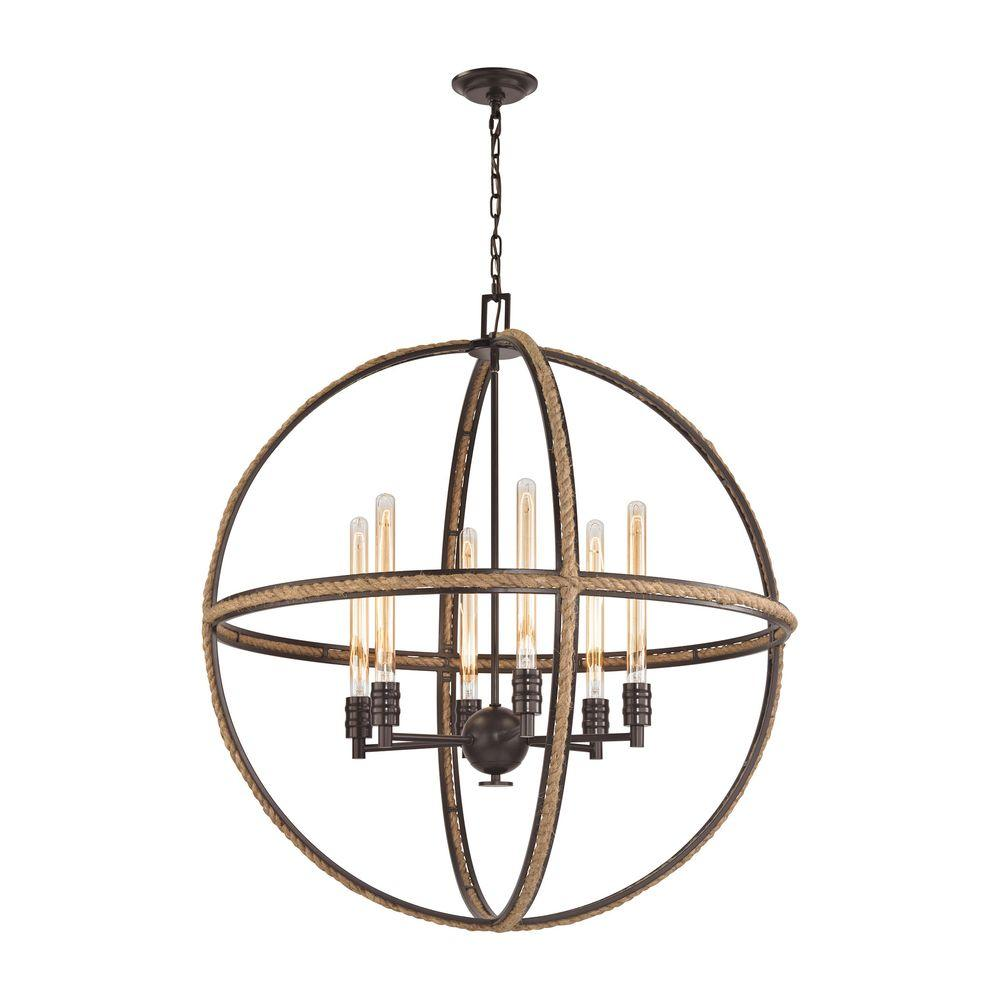 Natural Rope 6-Light Oil Rubbed Bronze Chandelier