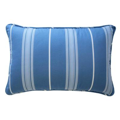 Ride The Waves Aqua Stripes Cotton 12 in. x 18 in. Throw Pillow
