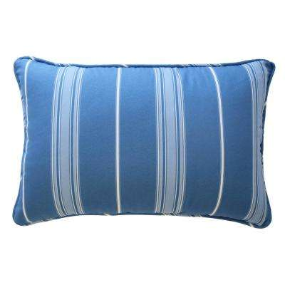 Ride the Waves Polyester Oblong Aqua Decorative Pillow