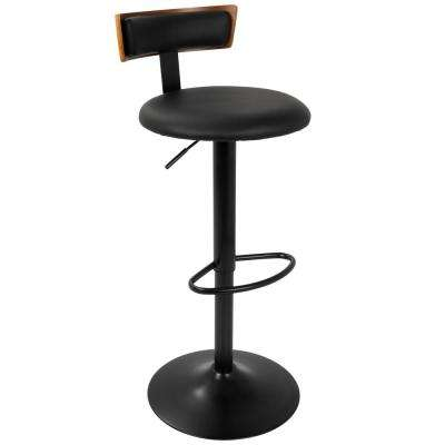 Weller Walnut and Black Adjustable Barstool