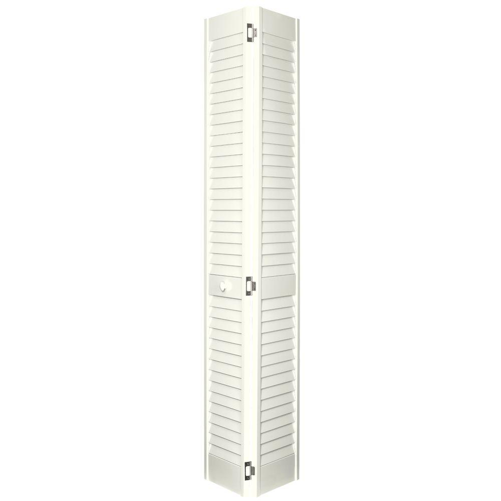 Home Fashion Technologies 30 in. x 80 in. 2 in. Louver/Louver Behr Off White Solid Wood Interior Closet Bi-fold Door