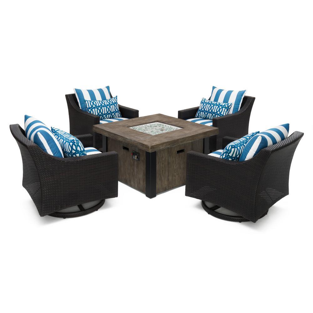 Deco motion 5 piece wicker patio fire pit conversation set with sunbrella regatta blue cushions