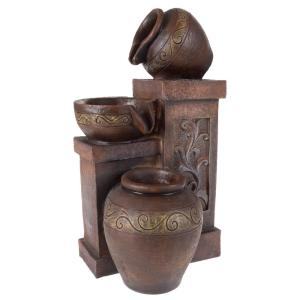 Pure Garden Tabletop LED Water Fountain with Rustic Jugs by Pure Garden