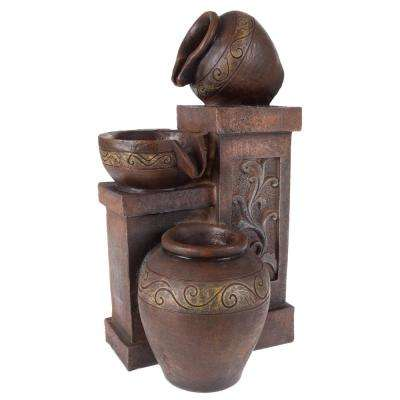Tabletop LED Water Fountain with Rustic Jugs