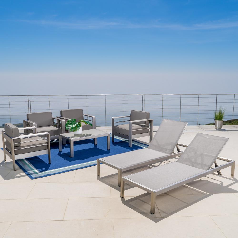 Cape Coral Grey 7-Piece Metal Patio Conversation Set with Khaki Cushions
