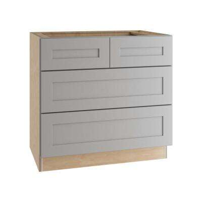 Tremont Assembled 36 in. x 34.5 in. x 24 in. Base Kitchen Cabinet with 3 Soft Close Drawers in Pearl Gray