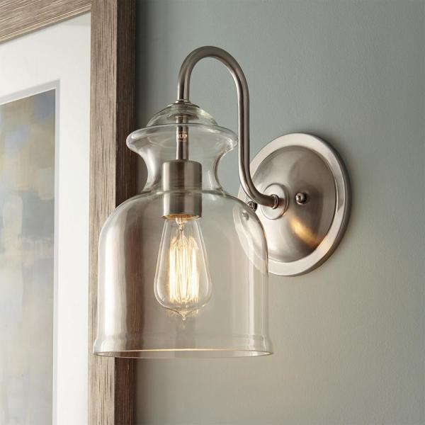 Home Decorators Collection Garridan 1 Light Brushed Nickel Wall Sconce With Clear Glass Shade 7943hdcdi The Home Depot