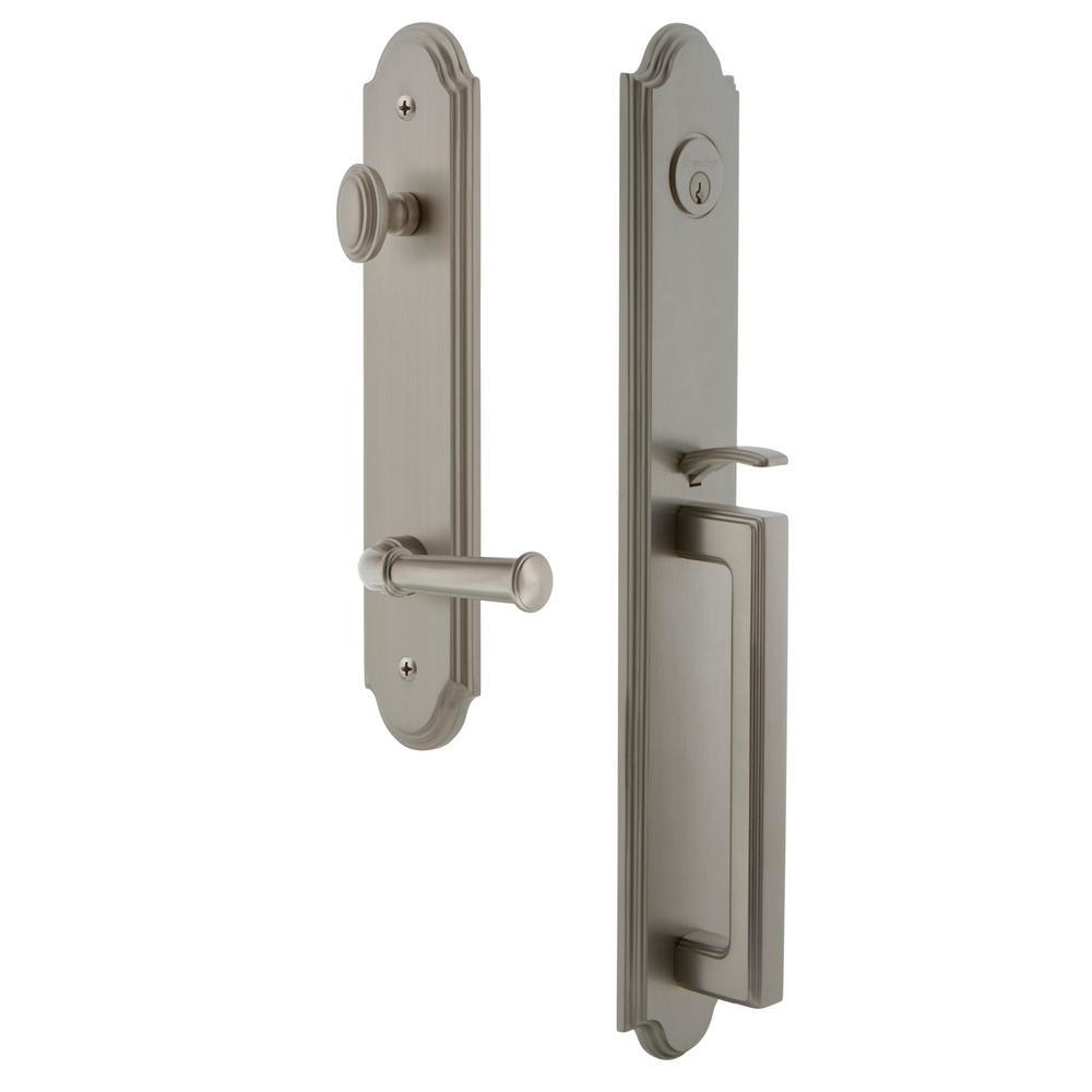 Grandeur Arc Satin Nickel 1-Piece Dummy Door Handleset with D Grip and Georgetown Lever