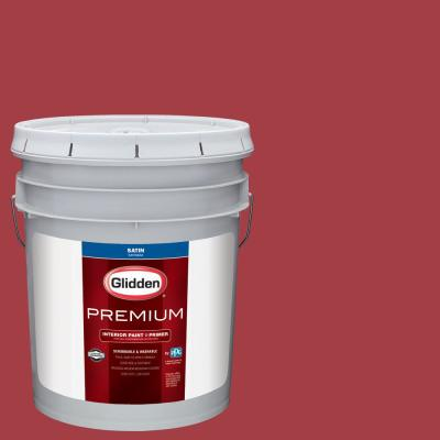 Glidden Premium 5 gal. #NHL-016B Montreal Canadiens Red Satin Interior Paint with Primer