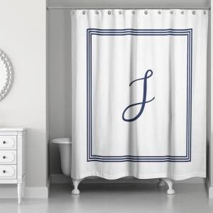 DESIGNS DIRECT 71 inch W x 74 inch L Navy Blue and White Letter J Monogrammed... by DESIGNS DIRECT