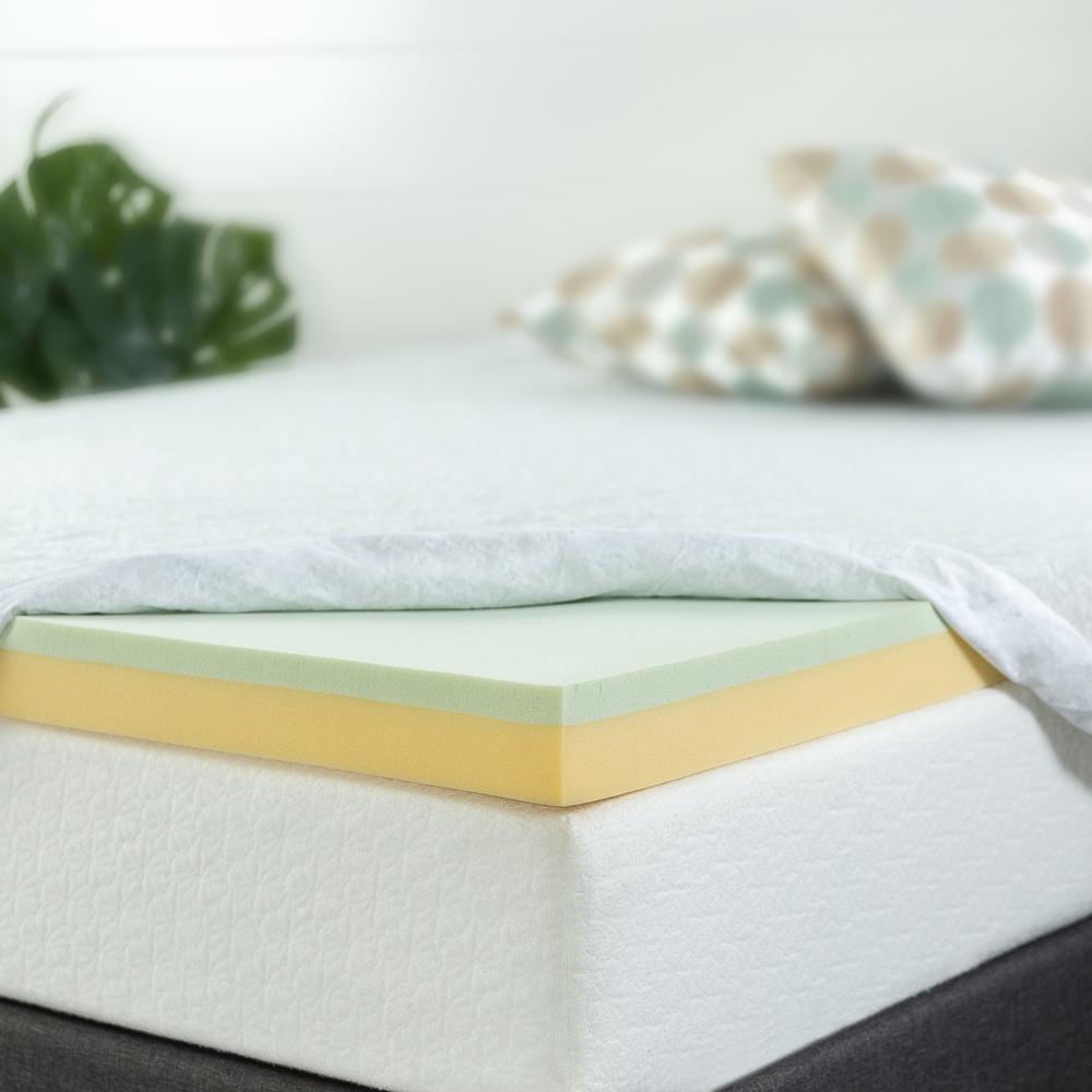 Zinus 3 in. Queen Memory Foam Mattress Topper, Green & Yellow was $97.99 now $63.69 (35.0% off)