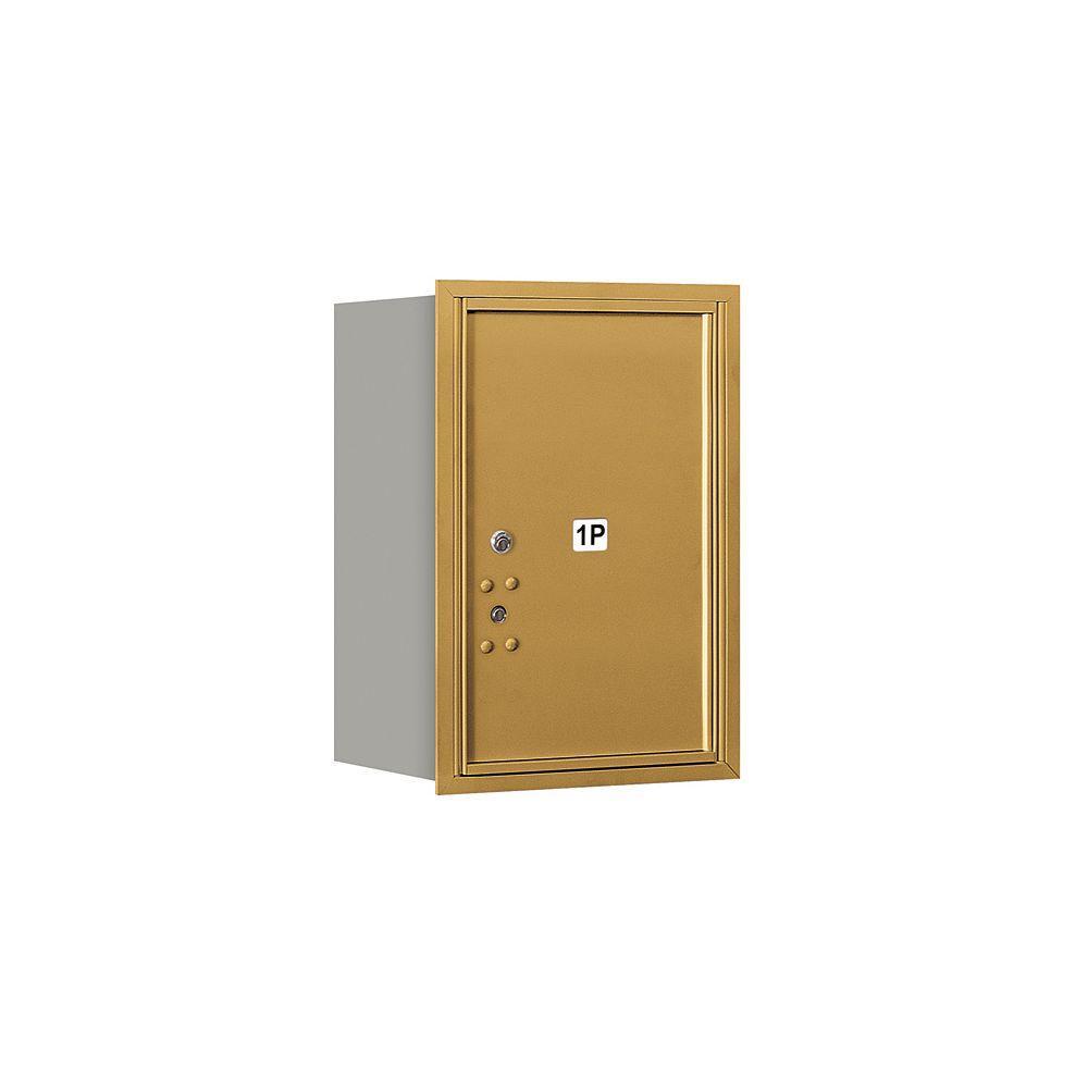 Salsbury Industries 3700 Series 23-1/2 in. 6 Door High Unit Parcel Locker 1 PL6 4C Private Rear Loading Horizontal Mailbox in Gold