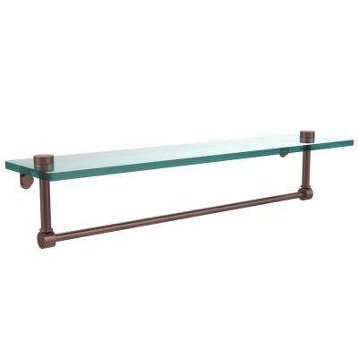22 in. L  x 5 in. H  x 5 in. W Clear Glass Vanity Bathroom Shelf with Towel Bar in Antique Copper