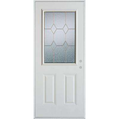 36 in. x 80 in. Geometric Patina 1/2 Lite 2-Panel Painted White Left-Hand Inswing Steel Prehung Front Door